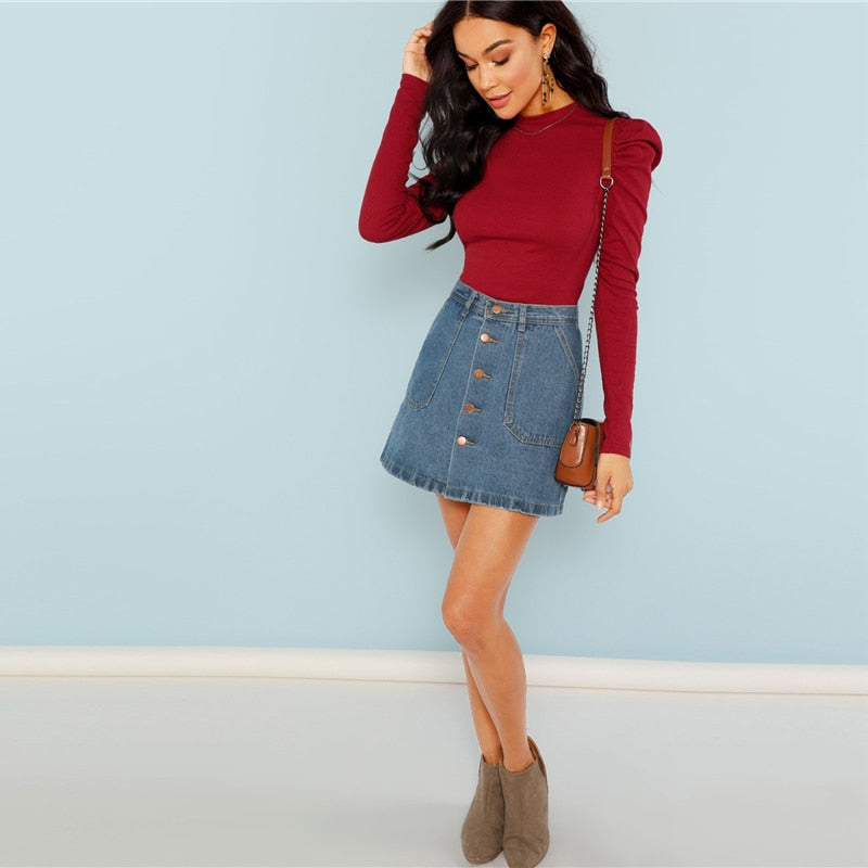 Burgundy Rib Knit Slim Fit Top