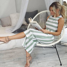 Load image into Gallery viewer, Sleeveless Striped Jumpsuit Romper