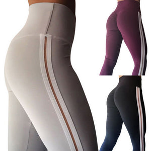 Solid Color Striped Yoga Pants Leggings