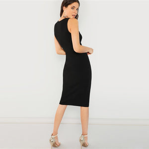 Solid Black Knee Length Pencil Dress