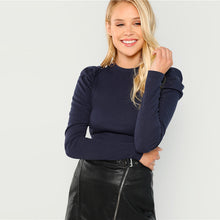 Load image into Gallery viewer, Blue Rib Knit Slim Fit Top