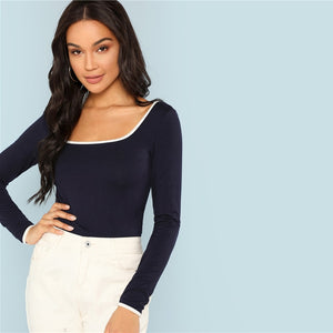 Navy Blue Long Sleeve Top