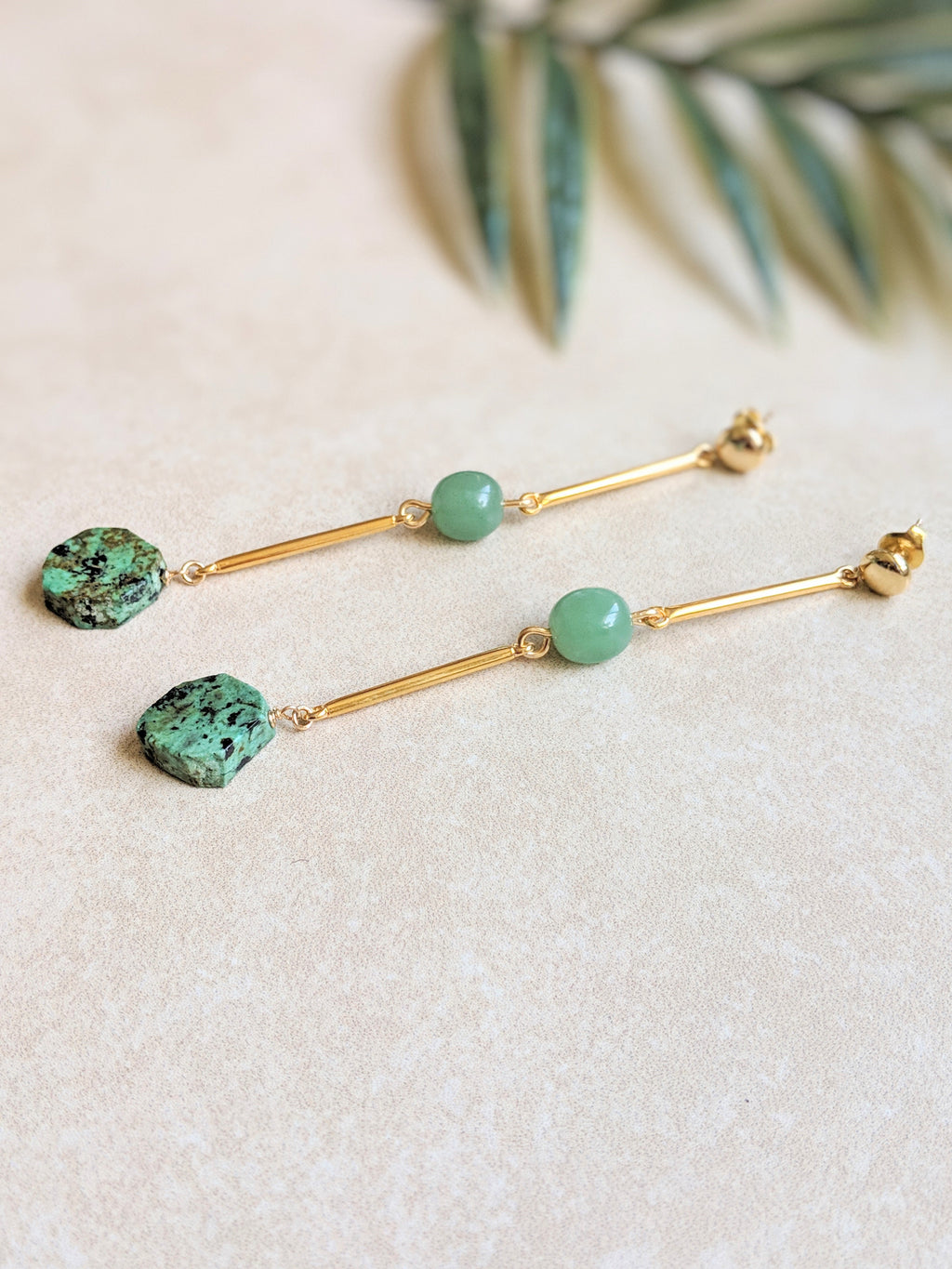 Aventurine and Turquoise in gold