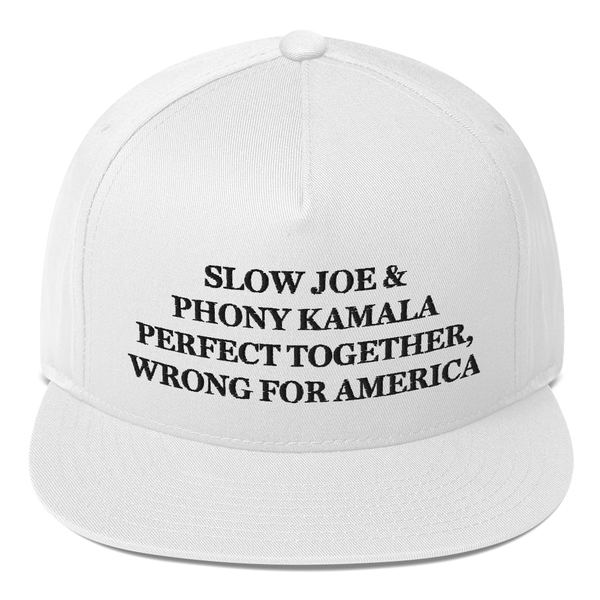 """Slow Joe & Phony Kamala - Perfect Together, Wrong For America"" American Craftsmanship Hat - Embroidered in America (White)"