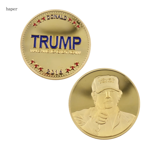 Trump Collectible Challenge Coin - Gold Color, MAGA Themed
