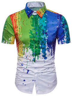 3D Watercolor Splash Print Hidden Button Shirt