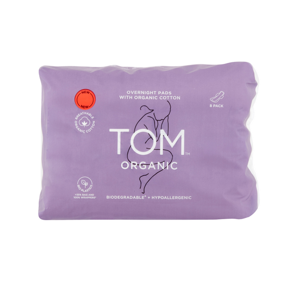 TOM Organic Cotton Overnight Pads - 8 pack