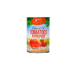 Chef's Choice Organic Whole Peeled Tomatoes in juice 400g (BPA free)