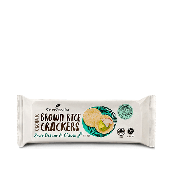 Ceres Organics Brown Rice Crackers Sour Cream & Chives 115g (CONTAINS SUNFLOWER OIL)