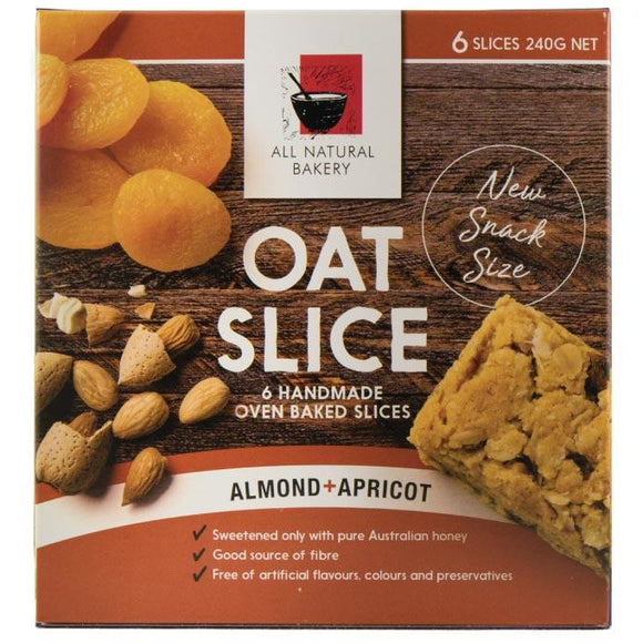 All Natural Bakery Oat Slice Almond & Apricot x 6 240g