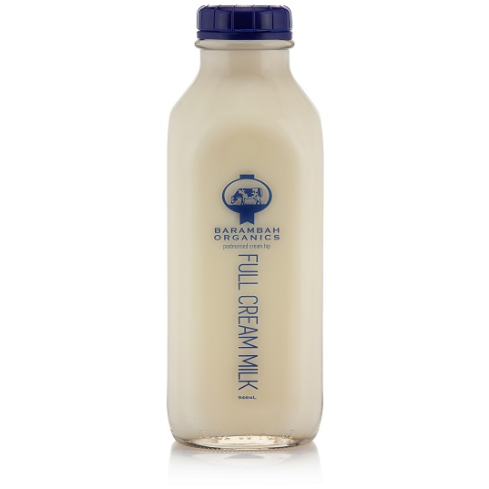 Barambah Organics Full Cream Milk 946ml Glass bottle