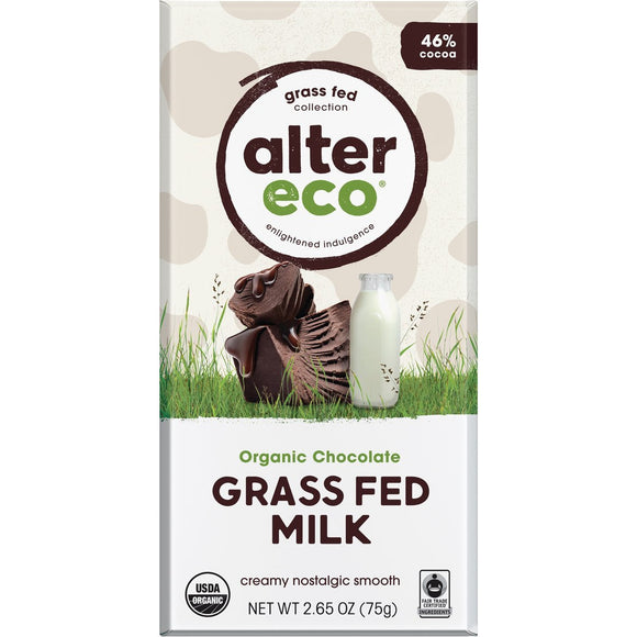 Alter Eco Choc Grass Fed Milk Chocolate - 75g