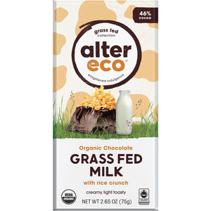 Alter Eco Choc Grass Fed Milk with Rice Crunch 46% - 75g