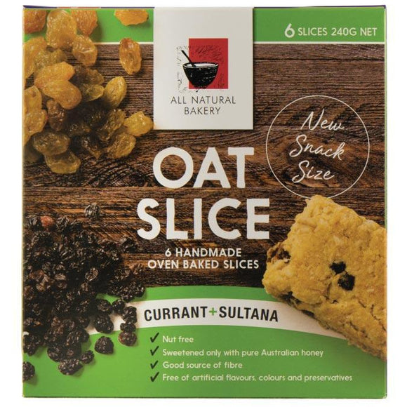 All Natural Bakery Oat Slice Currant & Sultana 6x240g