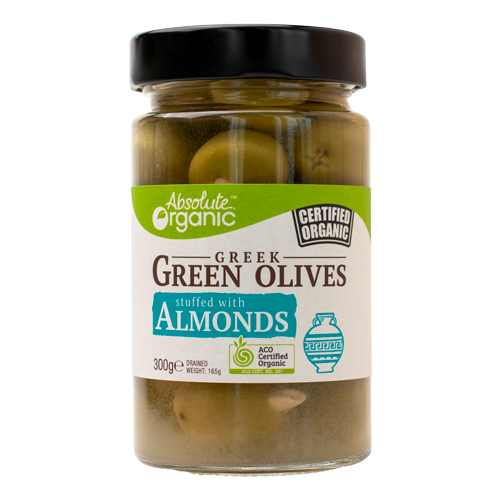 Absolute Organic Greek Green Olives Stuffed with Almonds 300g