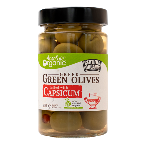 Absolute Organic Greek Green Olives Stuffed with Capsicum 300g