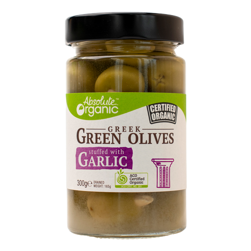 Absolute Organic Greek Green Olives Stuffed with Garlic 300g
