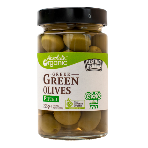 Absolute Organic Greek Green Pitted Olives 295g