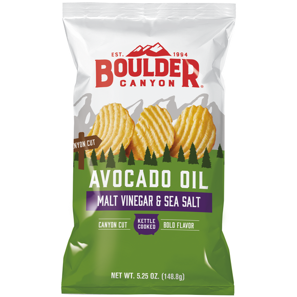 Boulder Canyon Avocado Oil Malt & Vinegar Potato Chips Sea Salt 149g