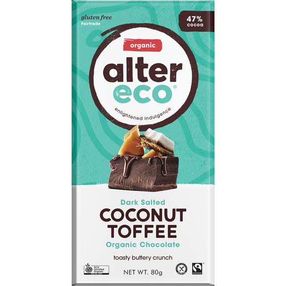 Alter Eco Dark Coconut Toffee Organic Chocolate 47% 80g