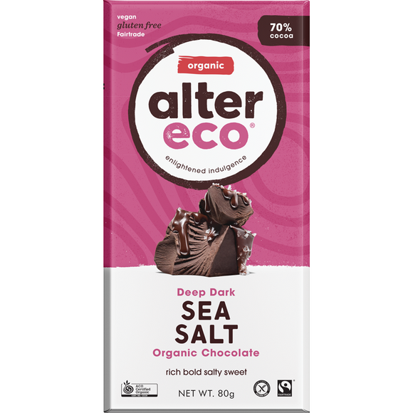 Alter Eco Deep Dark Sea Salt Organic Chocolate 70% 80g