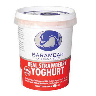 Barambah Organics Lactose Free Real Strawberry Natural Yoghurt 500g
