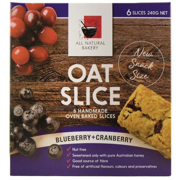 All Natural Bakery Oat Slice Blueberry and Cranberry x6 240g