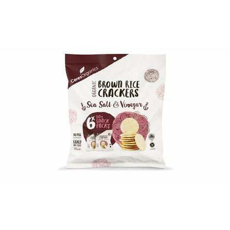 Ceres Organics Brown Rice Crackers Salt & Vinegar 20g x 6 snack pack (CONTAINS SUNFLOWER OIL)