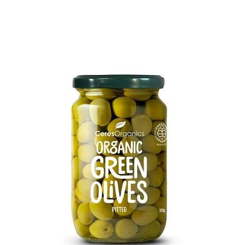 Ceres Organics Whole Pitted Green Olives 315g