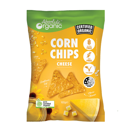 Absolute Organic Corn Chips Cheese 160g (CONTAINS SUNFLOWER OIL)