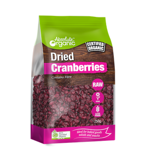 Absolute Organic Dried Cranberries (contains sunflower oil) 250g