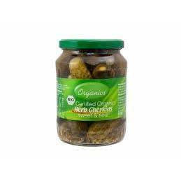 Jolly Organics Herb Gherkins Sweet & Sour 670g