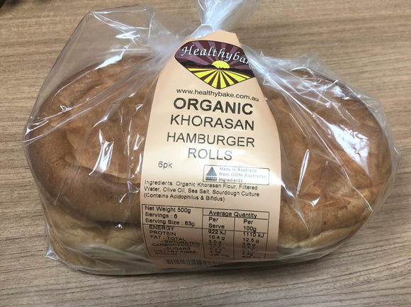 Organic Sourdough Khorasan Hamburger Rolls - 6 pack / 500g