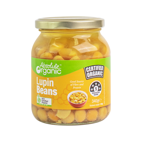 Absolute Organic Lupin Beans - 340g in glass jar