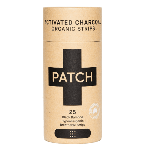 Patch Bamboo Organic Adhesive Strips Activated Charcoal Black 25pkt