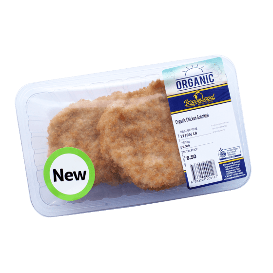 Organic Chicken Schnitzels 285g (contains CANOLA OIL)