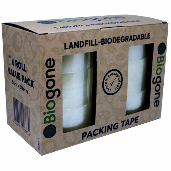 BioGone Landfill Biodegradable Packing Tape - 6x66m rolls