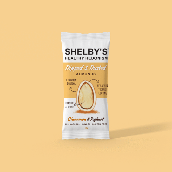 Shelby's Dipped & Dusted Yoghurt & Cinnamon Almonds 40g