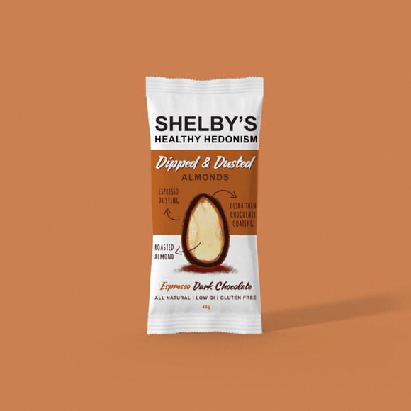 Shelby's Dipped & Dusted Dark Chocolate Espresso Almonds 40g