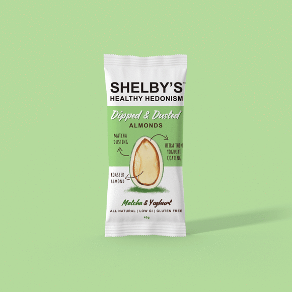 Shelby's Dipped & Dusted Yoghurt & Matcha Almonds 40g
