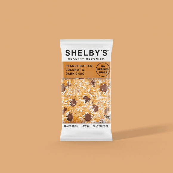 Shelby's Peanut Butter, Coconut & Dark Chocolate Slice 40g