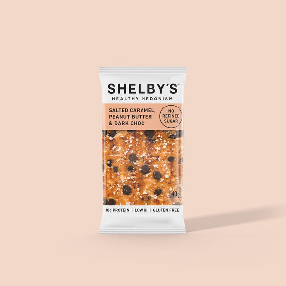 Shelby's Salted Caramel Peanut Butter & Dark Chocolate Slice 40g