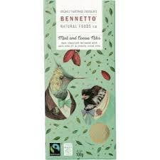 ** Bennetto Organic Dark Chocolate Mint & Cocoa Nibs 100g