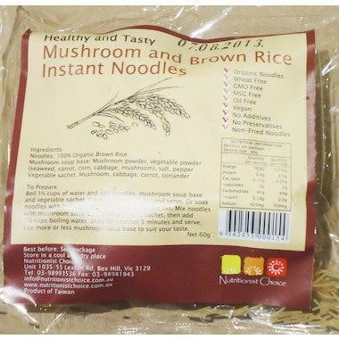 Nutritionist Choice Mushroom and Brown Rice Instant Noodles 60g