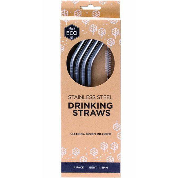 Ever Eco Stainless Steel Straws Bent 4 pack + brush