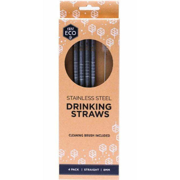 Ever Eco Stainless Steel Straws Straight 4 pack + brush