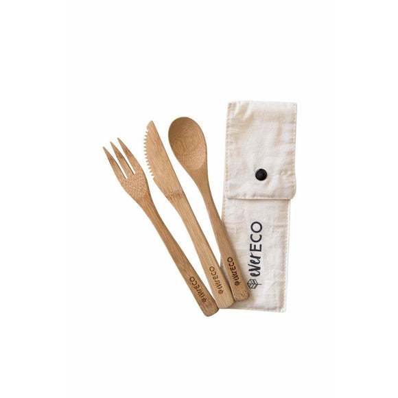 Ever Eco Bamboo Cutlery Set with Organic Cotton Pouch