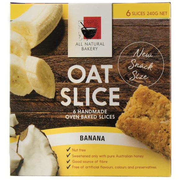 All Natural Bakery Oat Slice Banana x6 240g