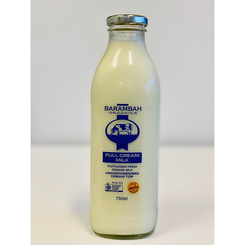 Barambah Organics Full Cream Milk 750ml Glass bottle