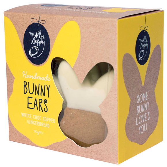 Molly Woppy Easter White Choc Topped Gingerbread Bunny Ears - 145g x7